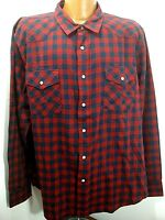 Mens Roebucks and Co Red Blue Pearl Snap Western Style Flannel Shirt Tag XXL