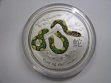"""Australien , 10 Dollar 2013 ST, Lunar II  """" Jahr der Schlange """", Silber + Farbe"""