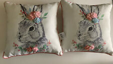 """Throw Pillow Adorable Bunny with Flowers 16"""" x 16"""" White w/Black Bunny New"""