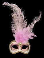 Maschera Di Venezia Columbine Per Piume Struzzo Maschera Rosa Veneziano - 1347