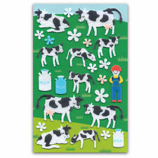 CUTE COW FELT STICKERS Sheet Farm Animal Raised Fuzzy Craft Scrapbook Sticker
