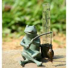 Aluminum Frog Fisherman Rain Gauge
