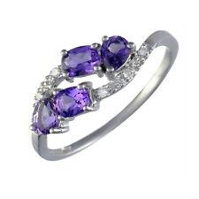& Diamond Multi Stone Cluster Ring N Ivy Gems 9ct White Gold Asymmetric Amethyst