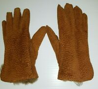 Vtg Carpincho Brown Leather Gloves Nutria Fur Lined Hand Stitch Argentina Small