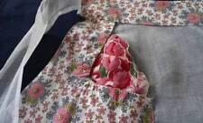 Vintage 50s Half Kitchen Apron Organdy Pink Floral Feedsack Cotton Fabric Hanky