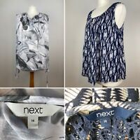 Next 2x Sleeveless Blouse Tops UK 14 Tunic Smock Lace Back & Floral Tie Sides