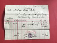 Coats Brothers Smithy Furnace Coal Dross 1884 Glasgow  receipt R33479
