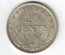 NEWFOUNDLAND 1912 20 CENTS KING GEORGE V STERLING SILVER COIN NICE GRADE