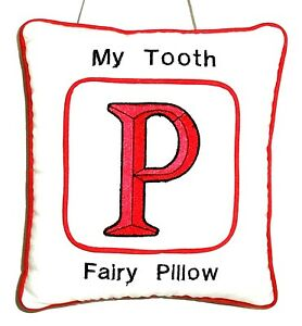 Tooth Fairy Pillow with embroidered Red Initial P on White Cotton New Handmade