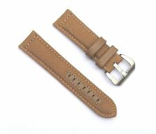24mm CanvasLeather Thick Padded Tan Light Brown Watch Band with 2 Spring Bars