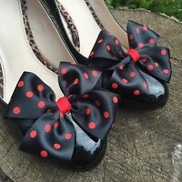 Red And Black Shoe Clips 4 Shoes Polkadot Bows Goth Pinup Retro Rockabilly