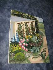 Gemälde Öl alte Leinwand Stilleben Garten Blumen Original von 1980 signiert Top