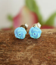 Carved Rose Flower Blue Opal Stud Sterling Silver Floral Earrings Birthday Gift