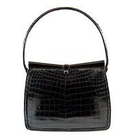 Lucille De Paris Black Alligator Evening Bag Purse