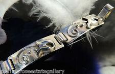"Vintage Beau 5 link Sterling Silver 0.925 7 1/4"" x 1/2 Bracelet w hook closure"