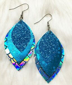 Aqua / Teal Mermaid Glitter Canvas Faux Leather Earrings Triple Layer