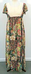 VTG 70s 80s Joy Stevens Boho Floral Lace Maxi Cottagecore Dress Womens Sz 7/8
