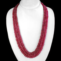 FINEST MOST EXCLUSIVE 482.00 CTS NATURAL 3 STRAND CARVED RED RUBY BEADS NECKLACE