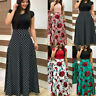 UK Womens Maxi Dress Cap Sleeve Ladies Formal Evening Party Gown BOHO Dresses