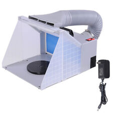 Portable Airbrush Paint Spray Booth 3 LED Light Tubes Exhaust Filter Extractor