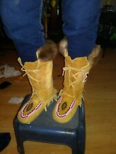 Ladies beaded, hand crafted  high top mocassins Size 7, lined with rabbit fur