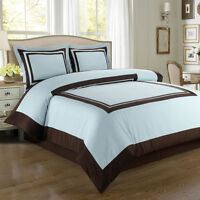 Royal Tradition Hotel Blue and Brown Egyptian Cotton Duvet Cover Bedding  Set