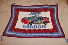 """#24 JEFF GORDON Vintage Hand-Knitted 40"""" x 60"""" Afghan/Blanket - Well Crafted"""