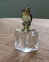 "Owl Enamel Crystal Perfume Bottle bird 3 1/2"" x 2"""