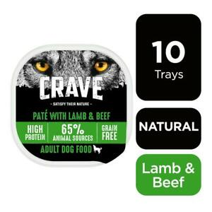 10 x 300g Crave Grain Free Natural Adult Wet Dog Food Trays Lamb & Beef in Loaf