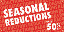 Seasonal Reductions Vinyl Display Banner with Grommets, 3'Hx6'W, Full Color