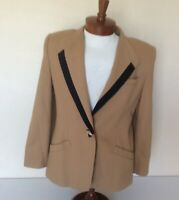 VTG Oleg Cassini Womens Sz 12 Wool Blend Career Blazer Brown w/Black Trim