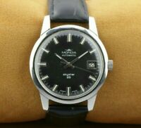 VINTAGE MONDIA SKYSTAR EXCELLENT BLACK AUTOMATIC SWISS WORKING  WRIST WATCH 35mm