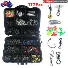 177Pcs Pro Fishing Accessories Kit w/ Tackle Box For Outdoor Swivels Hook Beads