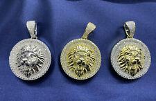 Solid 925 Sterling Silver Hip Hop Iced- Diamond Lion Head Medallion Pendant