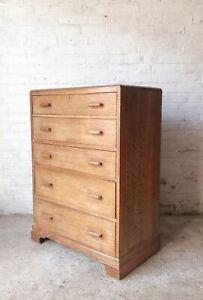 Vintage Limed Oak Chest of Drawers / Tallboy