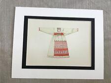 Antique Fashion Print Ukrainian Traditional Costume Peasant Embroidered Dress