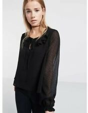 BNWT Topshop Nobodys Child Blouse Size 6 8 Flock Spot Top Shirt Black Ruffle New