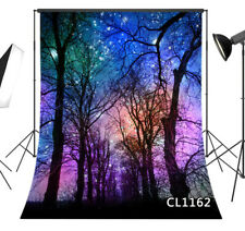 Night Sky Stars Trees Scenery Studio Backdrop 5x7ft Vinyl Photography Background