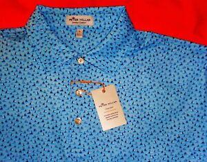 NWT PETER MILLAR CROWN SPORT SUMMER COMFORT MEN'S LARGE BLUE POLO SHIRT - $98