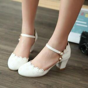 Sweet Women Lolita Mary Janes Pumps Ankle Strap Pearl Block Heels Shoes Elegant