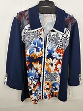 Alfred Dunner Plus Blue Costa Allegra 3/4-Sleeve Knit Jacket Floral Top 18W