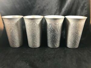 Set of 4 Vintage Hammered Aluminum Tumblers Retro Bar Ware
