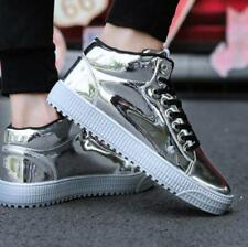 Mens High-Top Patent Leather Basketball Sneakers Shoes Flat Round Toe Casual Sz