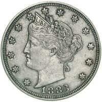 1883 Liberty V Nickel No Cents About Uncirculated AU
