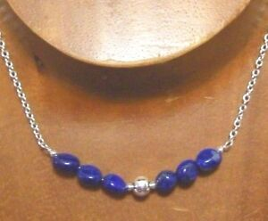 Sterling Silver Natural LAPIS Gemstone Beaded Necklace #787...Handmade USA