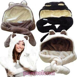 Women's Hat Hood Echo Fur Bicoloured Ears Scarf New T5240