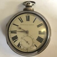 Antique Fusee Solid Silver Pair Case Pocket Watch Not Working 1865 London