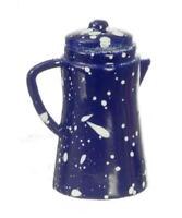 Dolls House Blue Spotted Coffee Pot Miniature Kitchen Accessory Metal 1:12 Scale