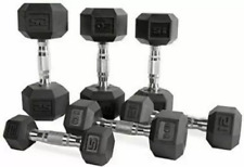 CAP Rubber Hex Dumbbells 5,10, 15, 20, 25, 30, 35 lb Pairs Singles FAST SHIPPING