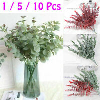 1-10Pcs Artificial Leaves Branches Eucalyptus Fake Plant Prop Home Garden Decors